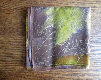 Vintage Vera Neumann Brown and Gold Vera-Sheer Leaves Scarf