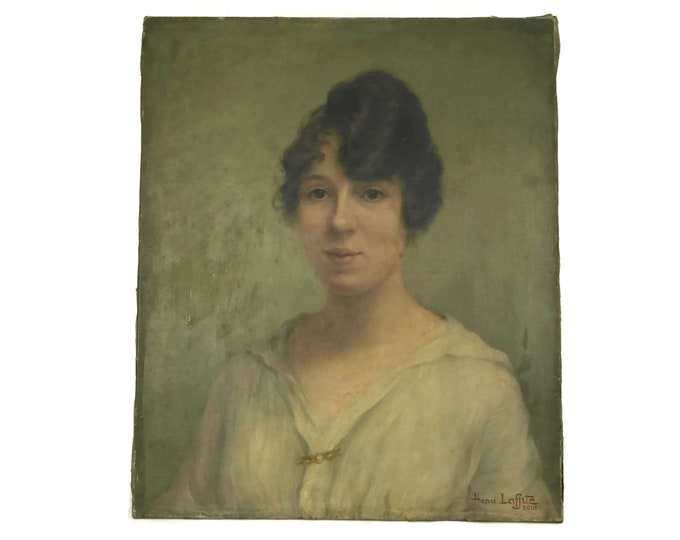 French Antique Woman Portrait Oil Painting. Edwardian Lady Original Art on Canvas Signed Henri Laffite.