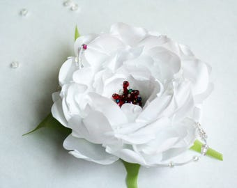 Brooch, Hairpin, Brooch-hairpin, FREE SHIPPING, Textile flower, White, Green, Beads, Wedding