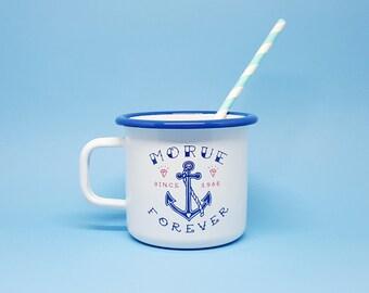 """Mug Émaillé """"Morue Forever"""" émail bleu et blanc"""
