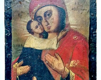 Old Orthodox Icon of the Mother of God of Vladimir, Vladimirskaya Theotokos Right Handed Pravoruchitsa Russian Hand Painting Wood 17x13.5cm