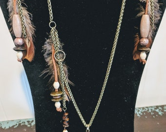 Wood, bone, and feather boho necklace set