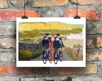 Cycling Art / A Day Out In The Dales / Cycling Print