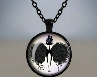 Quirky Black Burlesque Cat Pendant Necklace Glass Cameo Cabochon Tile Necklace Jewellery