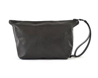 Handmade Black Leather Wash Bag Travel Bag Dopp Kit