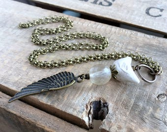Artisan Ceramic Bird Necklace. Cream Stacked Pendant. Mixed Media Necklace. Nature Inspired Bird Jewelry. Whimsical Wing Necklace
