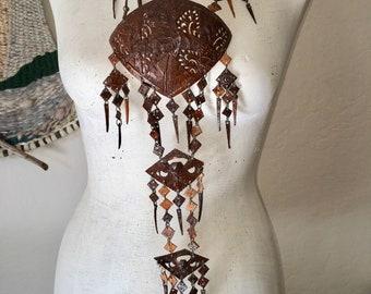 Vintage OOAK Hand Carved Coconut Necklace Fisherman Folklore