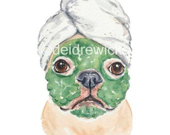 French Bulldog Watercolor - Dog Painting PRINT, Funny Bathroom Art, Animal Lover Gift, Beauty Routine