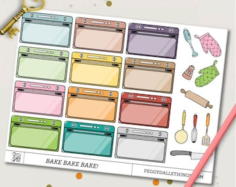 Half Boxes Oven Planner Stickers | Baking stickers | Cooking stickers
