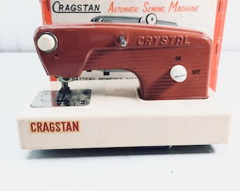 Toy Sewing Machine, Cragstan Automatic Sewing Machine, Made In Japan, Original Box, Vintage toy,