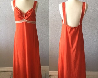 1970's Backless Orange Polyester and Lace Vintage Maxi Nightgown