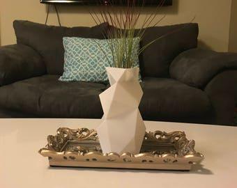 Geometric Vase, Minimalist Vase, Modern Vase, 3D printed Vase, Low Poly, Large Vase