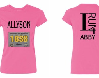 Custom I Run 4 Ladies Performance T-Shirt (personalized w/ name above BIB Number)