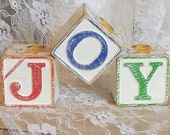 vintage wood blocks, wood JOY vintage Christmas blocks, child toy vintage wood blocks, angel cherub wooden alphabet ABC blocks, home decor