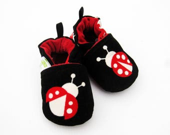 SALE XS Classic Corduroy Lady Bug / All Fabric Soft Sole Baby Shoes /Ready to Ship / Babies Moccs Moccasin