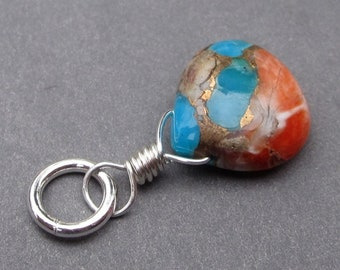 Turquoise and Copper Composite Charm,  Bracelet Charm, Sterling Silver Wire Wrapped Pendant with Jump Ring