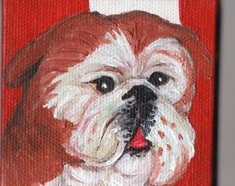 Bulldog mini canvas art, small bulldog painting, acrylic painting canvas art, Dog artwork, 3 x 3