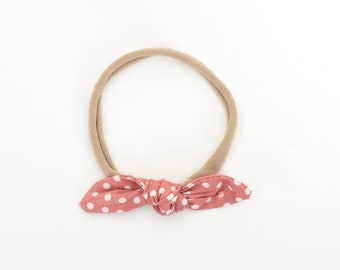 Baby Bow Headband, Dots Bow, Baby Nylon Headband, Baby Hair Bow, Kids Hair Accessories, Toddler Headband, Baby Girl Gift