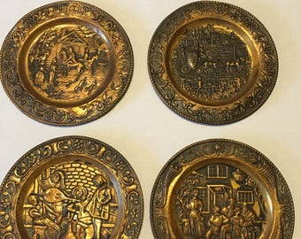 Set of 4 Small Metal Wall Plaques