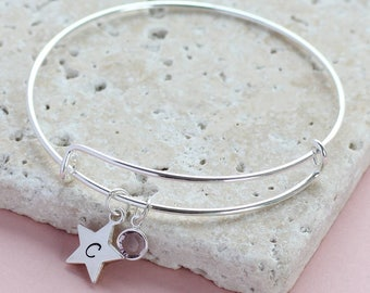 personalised star birthstone bangle, silver star bangle, birthstone bangle, adjustable bangle, birthstone jewellery, gift for women
