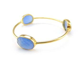 Blue Chalcedony - Stackable Bangle - Gemstone Bangle Bracelet - Stacker Bangle - Blue Bangle - Stacking Bangles - Gold Bangle