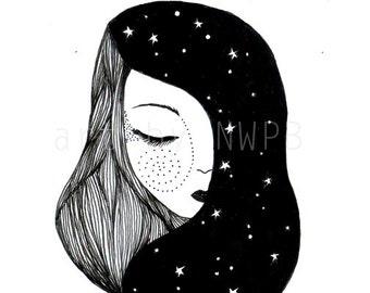 Goddess of the night. Illustration
