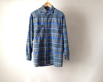 VERSACE style men's PAISLEY style ABSTRACT 90s long sleeve streetwear button up shirt vintage button up down shirt
