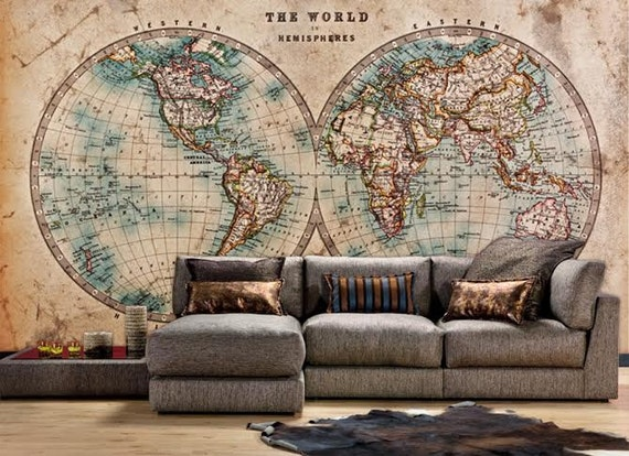 The world in hemispheres vintage world map wall mural like this item gumiabroncs Images