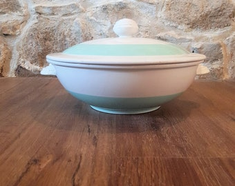 tureen luneville green and white semi porcelain