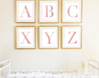 Letter Y | Nursery Print | Nursery Art | Alphabet | Instant Download | Digital Print | Wall Art | Baby Girl | Initials | Pink | Watercolor