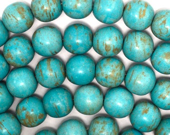"16mm blue turquoise round gemstone beads 16"" strand 35254"