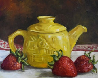 Canvas Still Life Oil Painting Yellow Tea Pot And Strawberries,Kitchen Canvas Original Oil Painting by Cheri Wollenberg