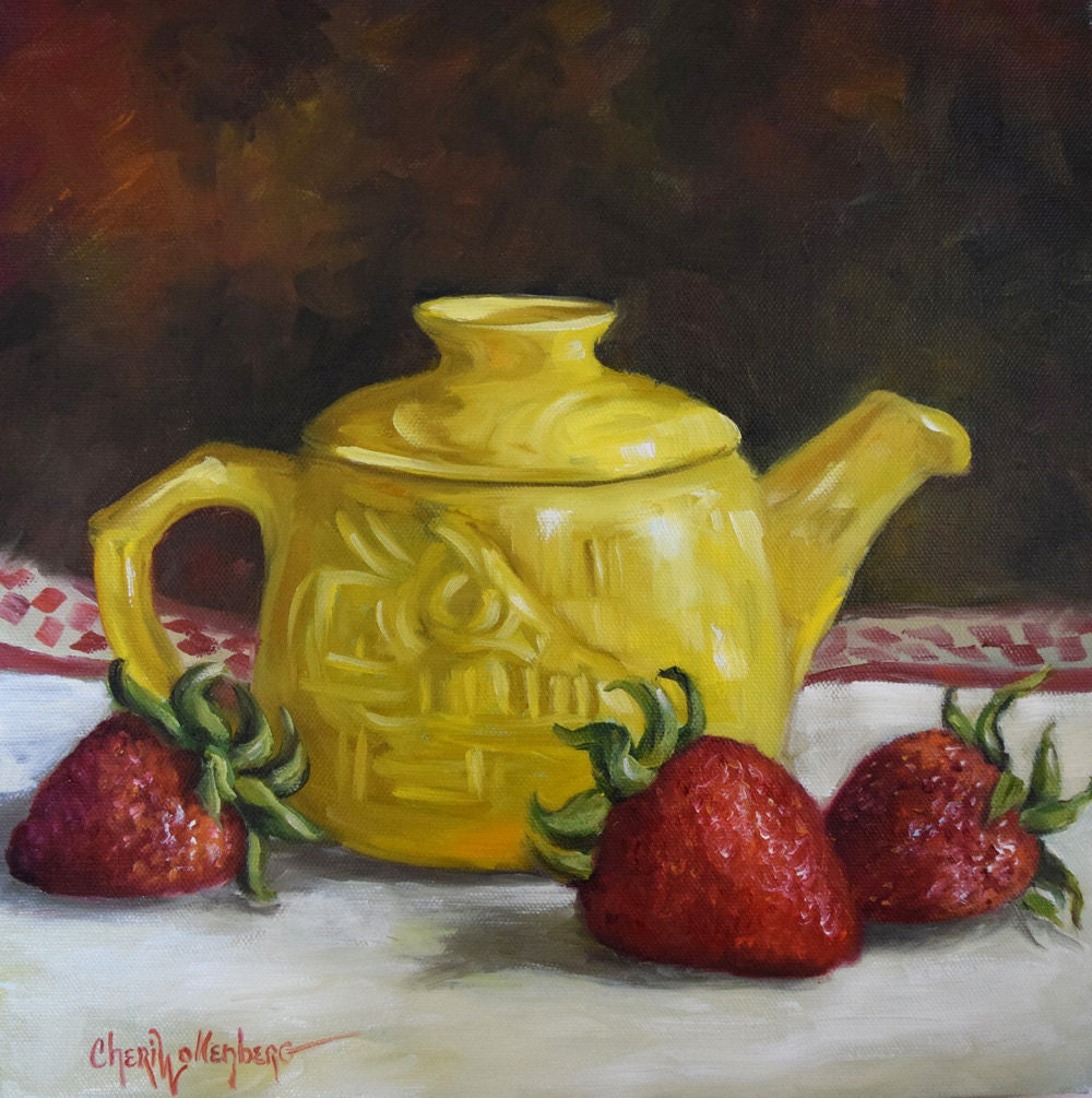 Canvas Still Life Oil Painting Yellow Tea Pot And