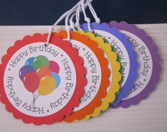 Happy Birthday / Balloon Gift Tags / Assorted colors / set of 6