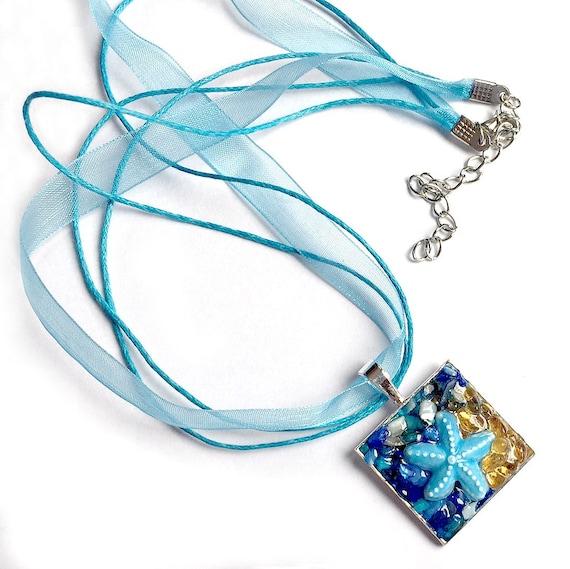 Starfish Ribbon Pendant Necklace, Starfish Pendant with Organza Ribbon, Aqua Blue Sea Star Pendant, Sand and Sea Starfish Choker Pendant