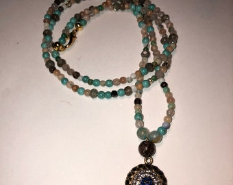 Turkish Topaz Sapphire Charm Necklace