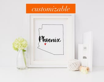 Arizona Print - State Print - Hand Lettered Print - Arizona - Custom State Print - Personalized State Print - Custom State Sign - Sign
