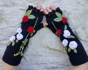 Hand knit women gloves, Women's arm warmers, Knit fingerless gloves, Embellished arm warmers, Embroidered gloves