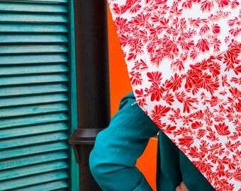 Parapluie imprimé et fait à la main - Au vent