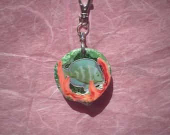 Shell Key Ring - Seashell Keychain - Underwater - Fish - Handmade Resin Accessories