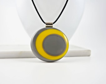 Modern Fused Glass Long Necklace, Yellow,Gray,Modern