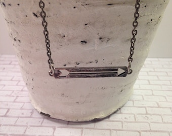 Cut out arrow bar necklace, gunmetal arrow necklace.