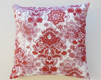 Red Damask Decorative Throw Pillow