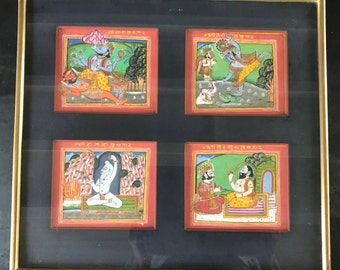 Indian painting symbolising different conditions of the God Vishnu