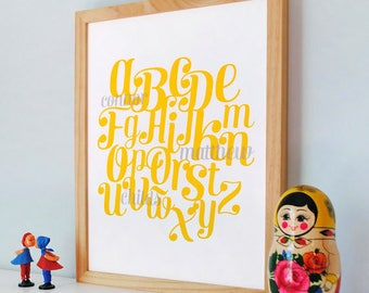 Retro Alphabet or Number Print, custom birth print, kids wall art, modern nursery art - SMALL size