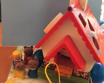 Fisher Price Little People #151 Goldilocks and The Three Bears Playhouse Complete