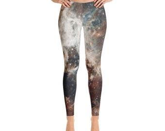 Galaxy Leggings - Real Hubble Space Telescope Image - 30 Doradus in the Magellanic Cloud  - Galaxy Print Leggings Space Leggings