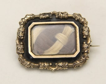 Antique Victorian Mourning Hair Frame Brooch Pin 1850 Inscribed