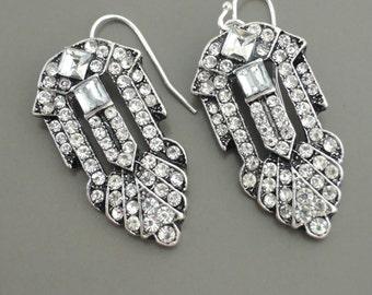 Art Deco Earrings - Crystal Earrings - Antiqued Silver Earrings - Bridal Earrings - Bridesmaid Earrings