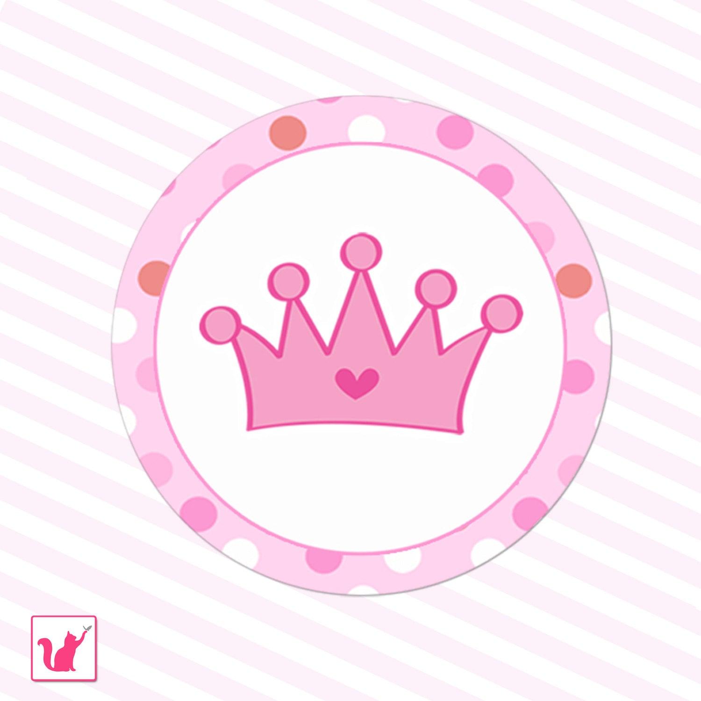 Printable Pink Hot Pink Princess Crown Tags Polka Dots